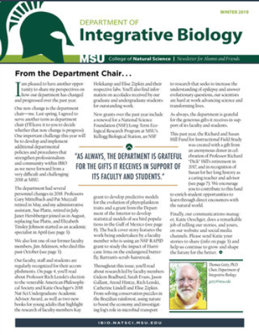 Cover of the 2019 Department of Integrative Biology Alumni and Friends Newsletter