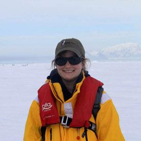Jessica Caton with antarticin the background