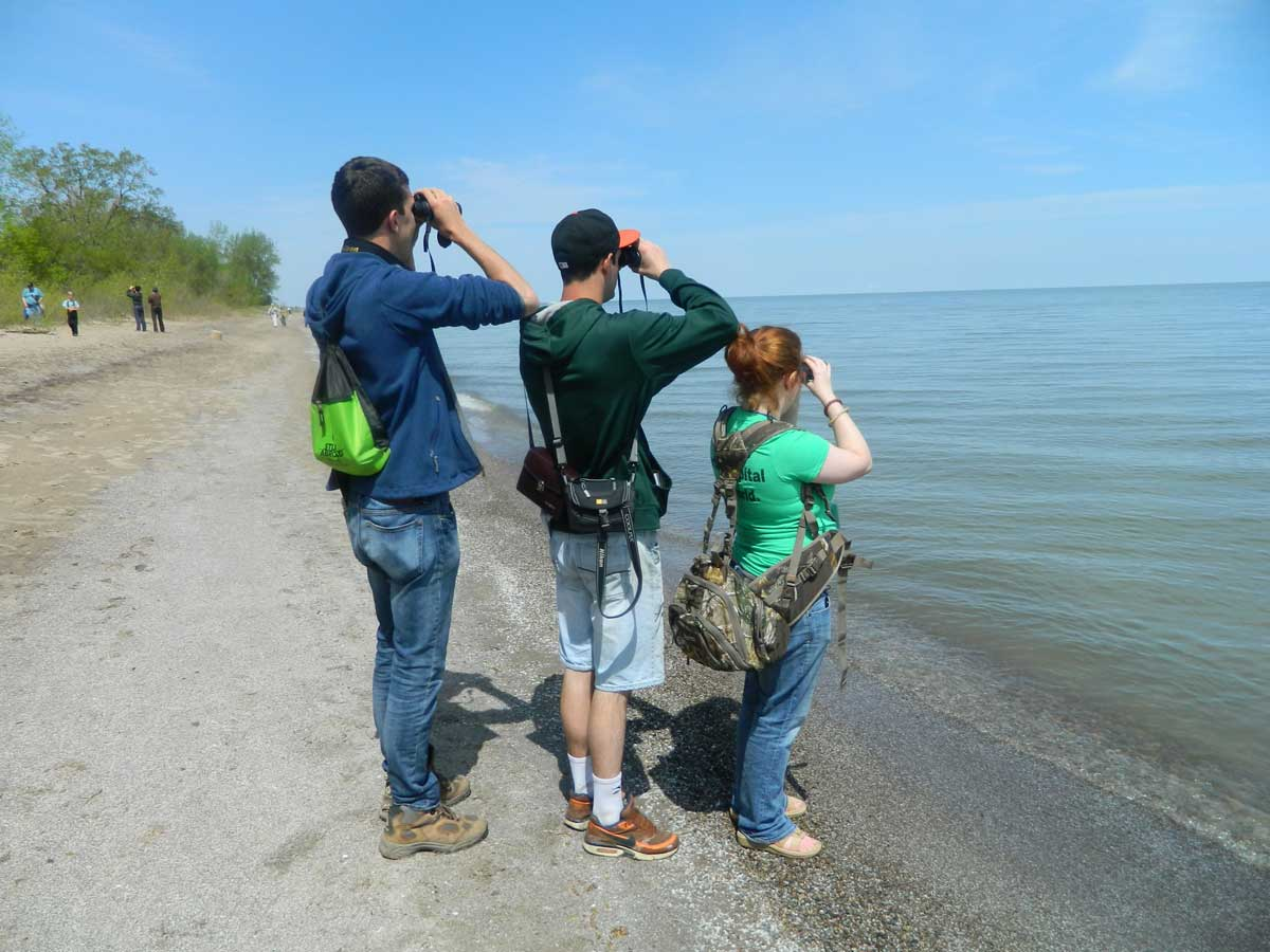 Members of the birding club at a beach looking into their binoculars to spot a spot